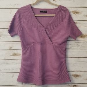 Willi Smith Lilac Ribbed Blouse Size XL